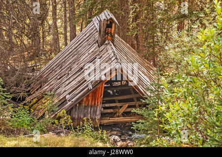 This is what is left of the schoolhouse after it fell in the creek in a Montana ghost town.  It looks like it was - Stock Photo