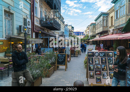 TBILISI, GEORGIA-SEP 25, 2016: People on a pedestrian street Sioni in heart of the old town. - Stock Photo