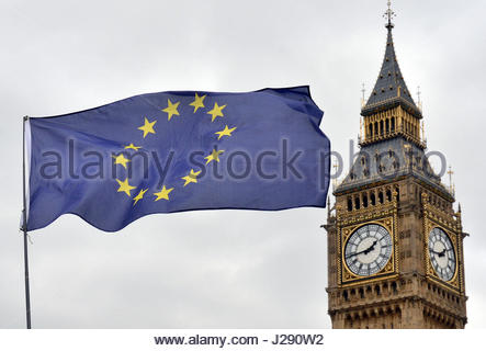 File photo dated 29/03/17 of an EU flag flying in front of the Houses of Parliament in Westminster, London. Theresa - Stock Photo