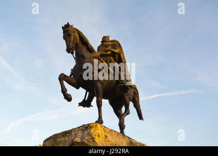 Skanderbeg, George Castriot, Lord of Albania, memorial sculpture, Tirana, Albania - Stock Photo