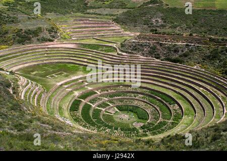 Archaeological site of Moray in the Sacred Valley near Cuzco. Moray - is the name of the Incan ruins near the town - Stock Photo