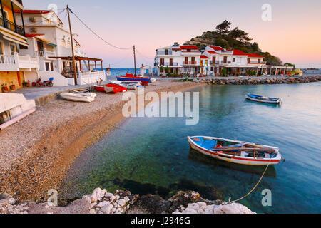 Picturesque Kokkari village on Samos island, Greece. - Stock Photo
