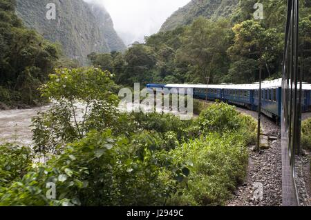 Inca Trail. Peru Luxury train from Cuzco to Machu Picchu. Orient Express. Belmond. Since the route by which the - Stock Photo
