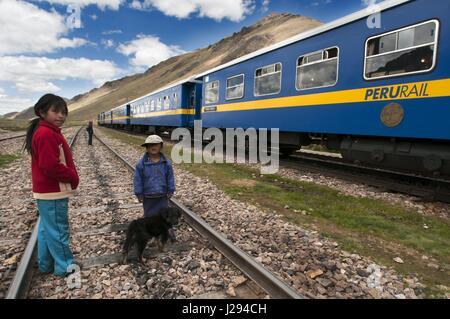 La Raya pass, Puno, Peru. Andean Explorer, luxury train from Cusco to Puno. In half the distance the train makes - Stock Photo