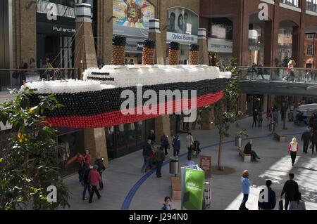 Scale model of the Titanic in Victoria Shopping Centre in Belfast city center, Northern Ireland, UK.  Victoria Square - Stock Photo