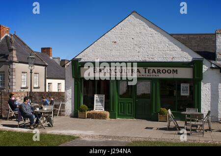 Ulster Folk and Transport Museum, Ballycultra town, Belfast, Northern Ireland, Britain, UK. Teas Coffee Luncheons. - Stock Photo
