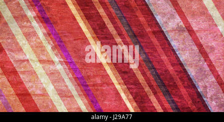 colorful striped background in pink and cream hues, slanted diagonal lines in random pattern on vintage distressed - Stock Photo