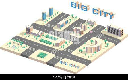 Isometric city map - Stock Photo