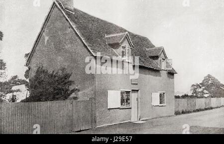 John Bunyan's house in Harrowden, Bedford, England.  John Bunyan, baptised 30 November 1628 – 1688. English writer - Stock Photo