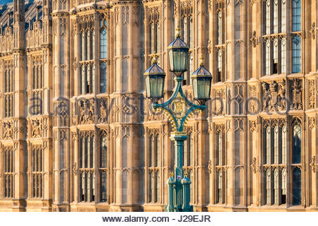 United Kingdom, England, London. Distinctive street lamps of Westminster Bridge in front of the Palace of Westminster, - Stock Photo