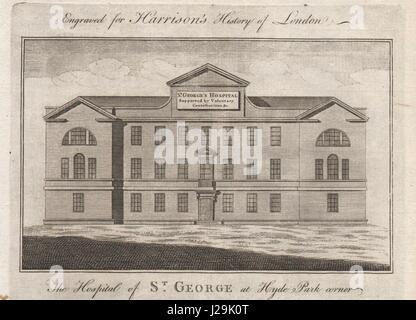 St George's Hospital Hyde Park Corner, now the Lanesborough Hotel. HARRISON 1776 - Stock Photo