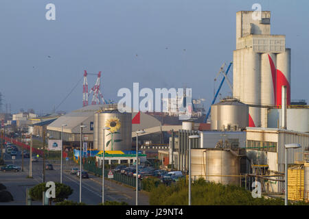 France, North-Western France, Saint-Nazaire, Cargill facilities, bulk manufacture of animal feed - Stock Photo