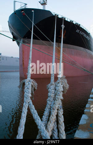 France, North-Western France, Saint-Nazaire, Bassin de Penhouët, Quai des Darses, Panamanian cargo vessel 'AG Varthormoleos', - Stock Photo