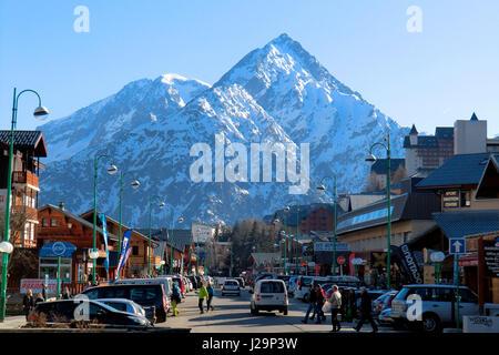 France, Eastern France, Alps, ski resort center, summit of Venosc in the background - Stock Photo