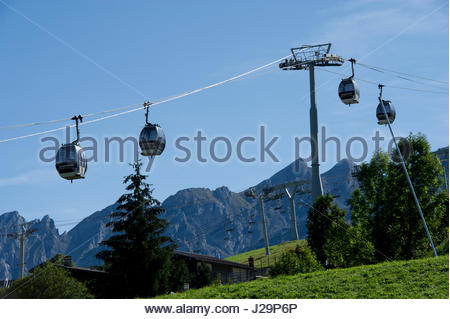 France, Eastern France, mountain range of the Aravis, La Clusaz, cable cars - Stock Photo