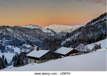 France, Eastern France, mountain range of the Aravis, La Clusaz, mountain pass of the Aravis and plateau of Beauregard - Stock Photo