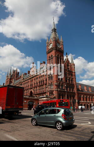 The clock tower of the St. Pancras Renaissance London Hotel, as seen from Euston Road opposite King's Cross station - Stock Photo