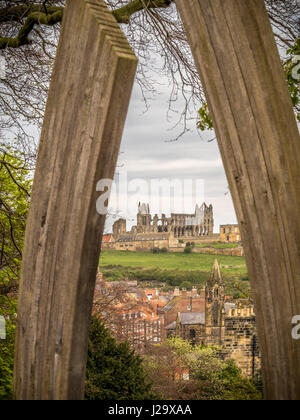 Whitby Abbey viewed from Pannett Gardens, Whitby, UK. - Stock Photo
