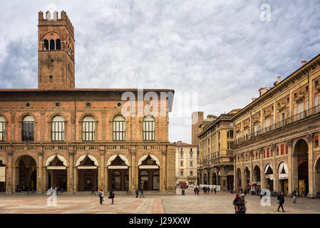 BOLOGNA, ITALY - FEBRUARY 08, 2017. Piazza Maggiore in central Bologna. - Stock Photo