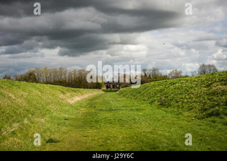 Closed section of the old Bedford and Cambridge Railway line near Longstowe, Cambridgeshire, UK - Stock Photo