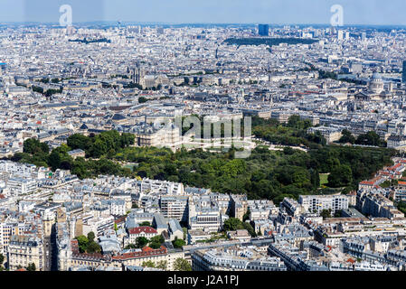 Luxembourg Palace and Gardens from the observation deck at the top of the Tour Montparnasse, Paris, France - Stock Photo