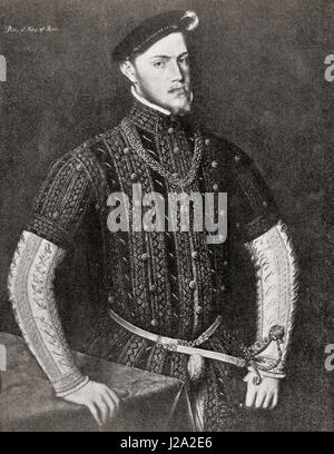 Philip II of Spain, 1527 – 1598, called 'the Prudent'.  King of Spain, King of Portugal as Philip I, King of Naples - Stock Photo
