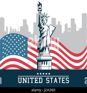 statue of liberty united states flag with city new york background - Stock Photo