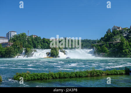 The Rhine Falls is the largest waterfall in Europe, Schaffhausen, Switzerland. - Stock Photo