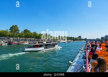 View from a Bateau Mouche on the River Seine, Paris, France - Stock Photo