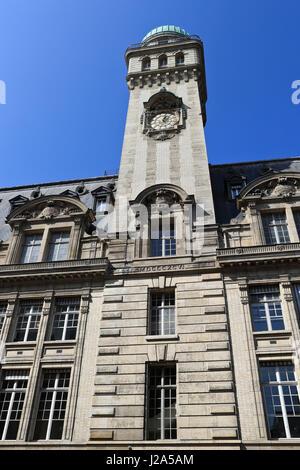 France, Paris, Sorbonne University, clock tower, observatory - Stock Photo
