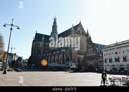Big church on the town square, Grote Markt in Haarlem - Stock Photo