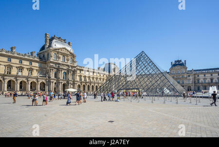 France, Paris, Louvre Palace, view of Napoleon Courtyard with the Louvre Pyramid