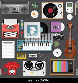 Retro Classic Entertainment Media Mixed Set Icon Illustration Vector - Stock Photo