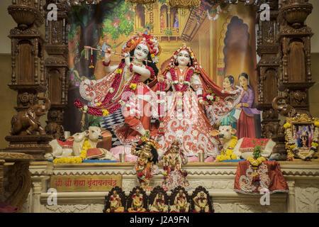 Radha Krishna deity idol. Iskcon temple, Pune, Maharashtra - Stock Photo
