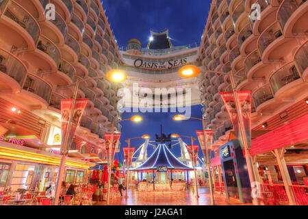Orlando, USA - Feb, 11: Royal Caribbean, Oasis of the Seas, the largest passenger ship constructed in the world. - Stock Photo