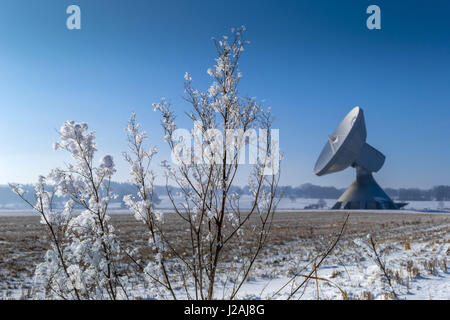 Raisting Satellite Earth Station in Winter - Stock Photo