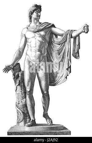 The Apollo of the Belvedere or Pythian Apollo, marble sculpture from Classical Antiquity - Stock Photo