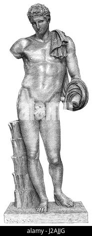 Statue of Hermes as the patron of athletics and sports - Stock Photo