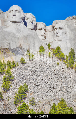 Mount Rushmore National Memorial on a sunny day, South Dakota, USA. - Stock Photo