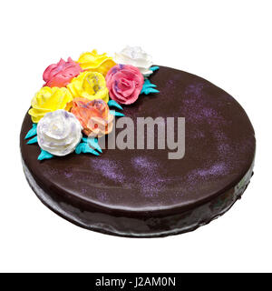 chocolate mirror cake with roses isolated with clipping path - Stock Photo