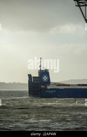 Modified exhaust on container ferry, Firth of Forth, Scotland, United Kingdom - Stock Photo