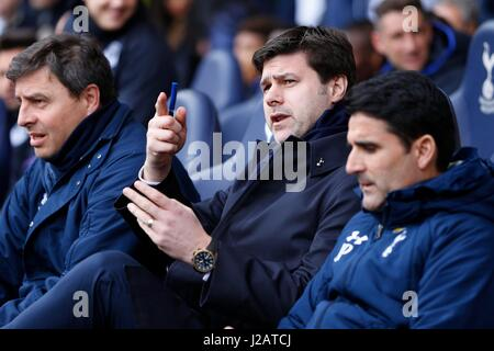 Tottenham's Manager Mauricio Pochettino  during the Premier League match between Tottenham Hotspur and Everton at - Stock Photo