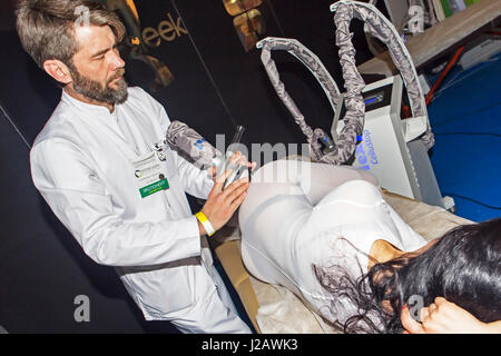 Moscow, Russian Federation - April 22, 2017: Intercharm XVI International exhibition of professional cosmetics and - Stock Photo