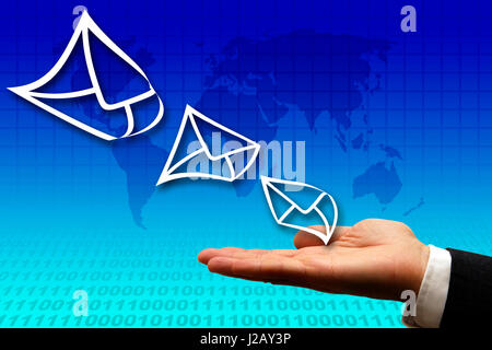 conceptual image for electronic mail business solutions - Stock Photo