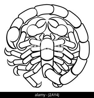 Astrology horoscope zodiac signs, circular Scorpio scorpion symbol - Stock Photo