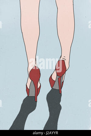 Low section of woman wearing shoes with one broken heel - Stock Photo