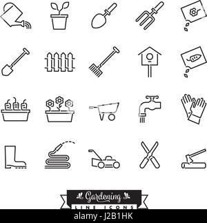 Collection of 20 gardening vector line icons - Stock Photo