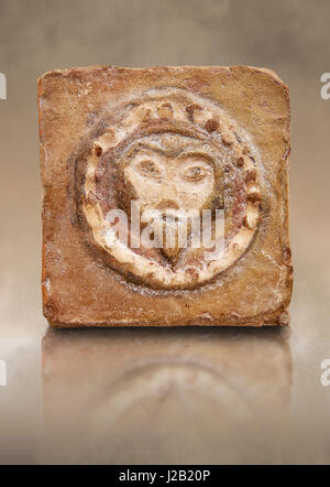 6th-7th Century Byzantine Christian Terracotta tiles depicting Christ - Produced in Byzacena -  The Bardo Museum - Stock Photo