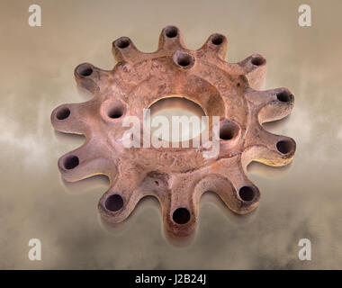 Fifth century Roman Christian terracotta candle holder for 12 candles from a church in Africa Proconsularis , present - Stock Photo
