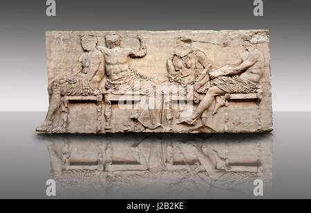 Marble Releif Sculptures from the east frieze around the Parthenon Block IV 24-27. From the Parthenon of the Acropolis - Stock Photo